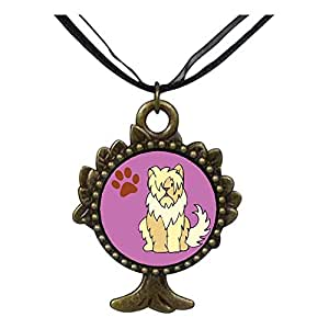 Chicforest Bronze Retro Style Sheepdog Animal The Tree Of Life And Wishing Pendant