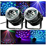 Happyi 3W RGB Sound-activated Stage LED Crystal Magic Rotating Ball Effect Led Stage Lights For KTV Xmas Party Wedding Holiday Show Club Pub Disco DJ
