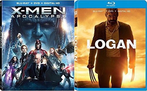 Marvel X-Men Wolverine Logan Movie Pack Blu-Ray + DVD + DHD Hugh Jackman Logan & X-men: Apocalypse Super Hero Double Feature