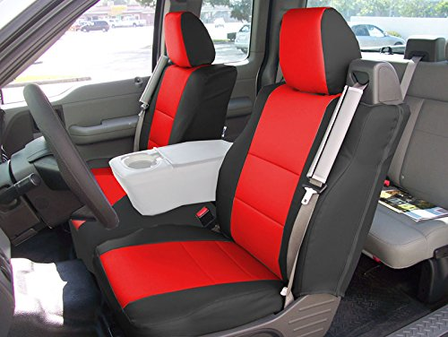 2004-2008 FORD F-150 BUILT IN SEATBELT TYPE Black/Red Artificial leather Custom fit Front seat cover