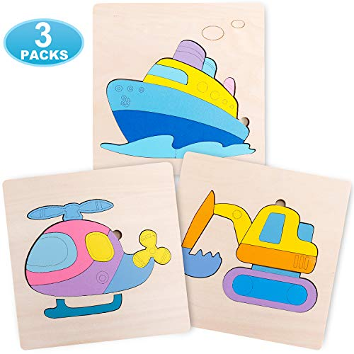 LAIQWEN Wooden Jigsaw Puzzles for Toddlers 1 2 3 Years Old, Boys &Girls Educational Toys Gift Boat Helicopter Excavator, Bright Vibrant Color Shapes.