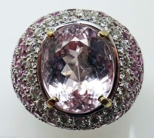 18K Gold 4.0ct Genuine Natural Kunzite Ring w/Pink Sapphires & Diamonds (#3134)