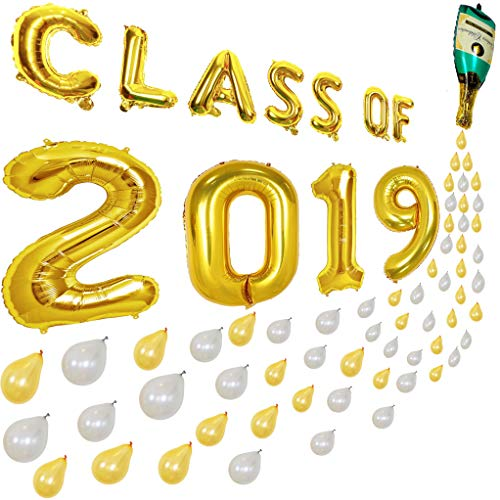 (Graduation Balloons 79Pcs- Class of 2019 and Champagne Bottle Balloons with Bubble Balloons, 2019 Graduation Decorations, Graduation Party Supplies 2019, Prom (Glue Dots, String, Straw Included))