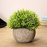 KINGSO Mini Plastic Artificial Plants Mini Potted Plants Plastic Fake Green Grass for Home Garden Decor Green
