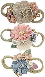 Baby Floral Headbands 3pcs Set Flower Crown Elastic HairBand for Newborn Infant Toddler Girls Accessories