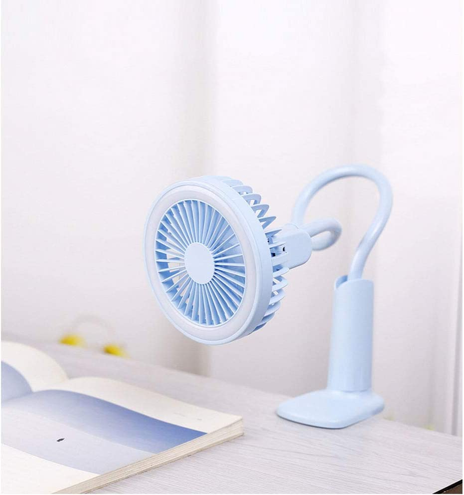 Clip On Mini Desk USB Fan 360 Degree Rotation Desk USB LED Lamp Fan Fan for Baby Car Seat Gym Travel Blue 1PC