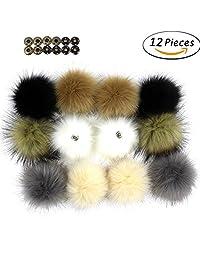 Dr Nezix DIY 12pcs Faux Fox Fur Fluffy Pompom Ball with Press Button/Snap Fastener for Hats Shoes Scarves Bag Charms Accessories (EK)