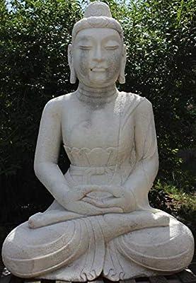 Asia Lifestyle Templo Buddha Estatua (175 cm) de mármol piedra – Asia Jardín Escultura restaurado: Amazon.es: Jardín