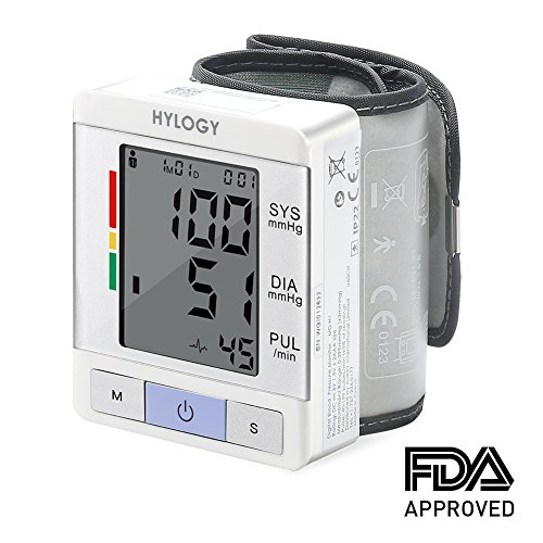 Wrist Blood Pressure Machines (Wrist Blood Pressure Machine Wrist Blood Pressure Monitor HYLOGY BP Monitor Wrist Fully Automatic FDA Approved BP Cuff with 2 Users Mode and Hypertension Level- Batteries Included)