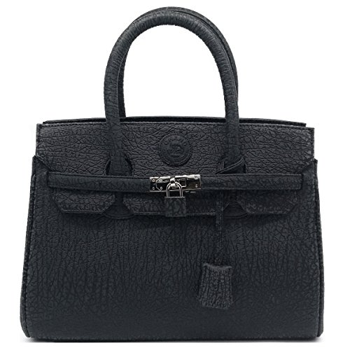 Genuine Leather Handbag Woman Luxury Style Nice Sewing (Black) by Treasure