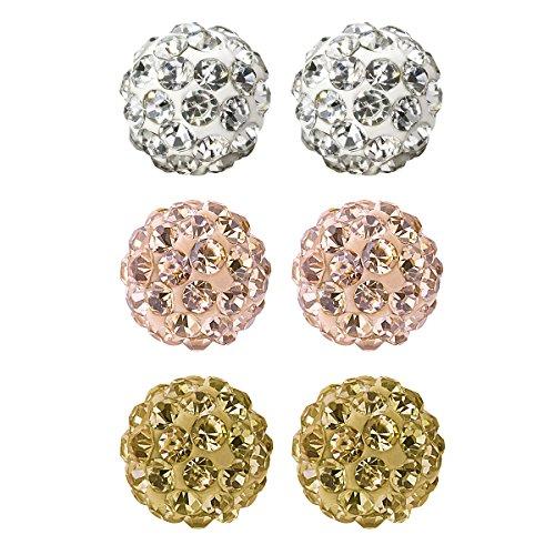 Value Pack, Bling Bling Rhinestones Crystal Fireball Disco Ball Ball Stud Earrings, Stainless Steel, Hypoallergenic (Set E. 6mm x 3 Pairs (White, Rose Gold, Gold))