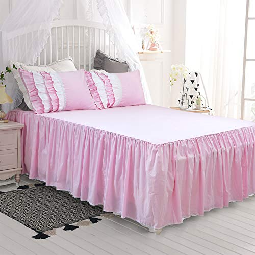 Softta Vintage Pink Bed Sheets with Skirt Set Full Size Korean Style Princess Wrap Around Ruffled Lace 100% Cotton 24 Inches Drop Luxury Hotel Quality Fabric Wrinkle and Fade Resistant Gathered.