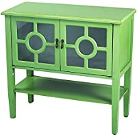 Heather Ann Creations Modern 2 Door Accent Console Cabinet With Circle Pane Glass Insert and Bottom Shelf Lime