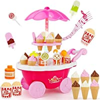 AARNA'S Ice Cream Play Cart Kitchen Set Toy with Lights and Music for Kids