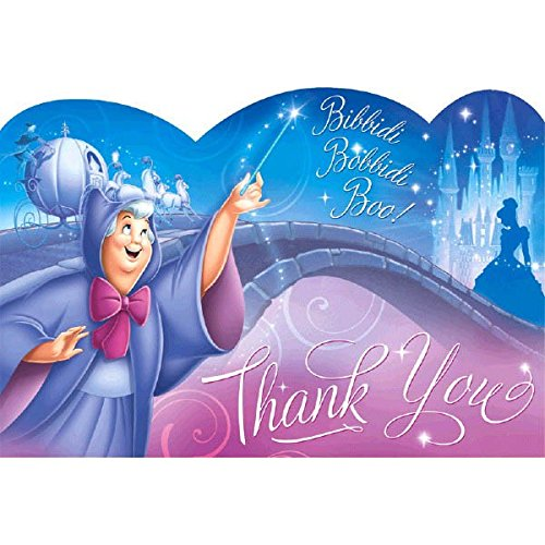 Cinderella Disney Princess Birthday Party Thank You Card Supply (8 Pack), Multi Color, 4 1/4