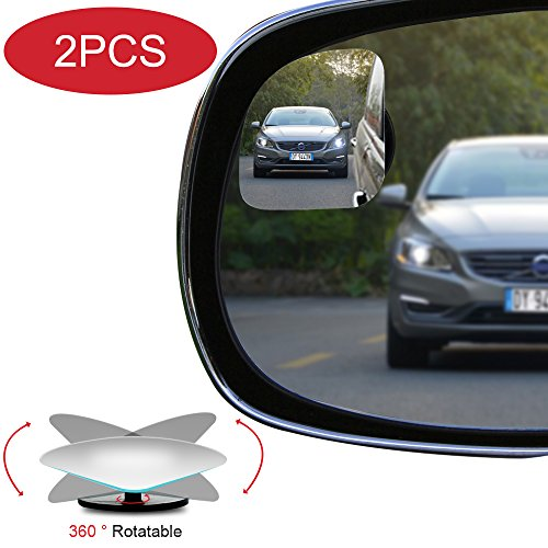 Glass Side Fan Accessories (POMFW Blind Spot Mirror, Rearview Convex Adjustable Side Mirrors, Frameless Sway Rotate Wide Angle Rear View Mirror HD Glass Fan Shape Stick-on 3M Adhesive for SUV Car Truck Van Traffic Safety 2pcs)