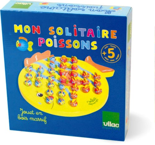 Vilac Baby Shape and Color Recognition Toy, Fish Solitaire