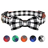 Vaburs Dog Bow Tie, Dog Cat Collar with Bow Tie Buckle Light Plaid Dog Collar for Dogs Cats Pets Soft Comfortable,Adjustable (S, Black)