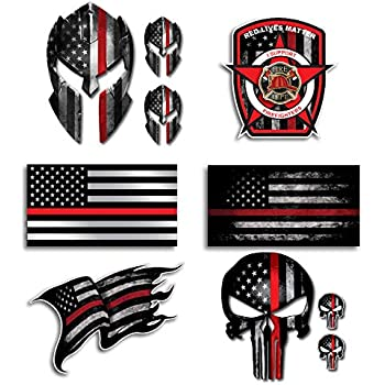 Maltese Cross EMS Star Decal Thin Red Line Punisher Decal Various Sizes