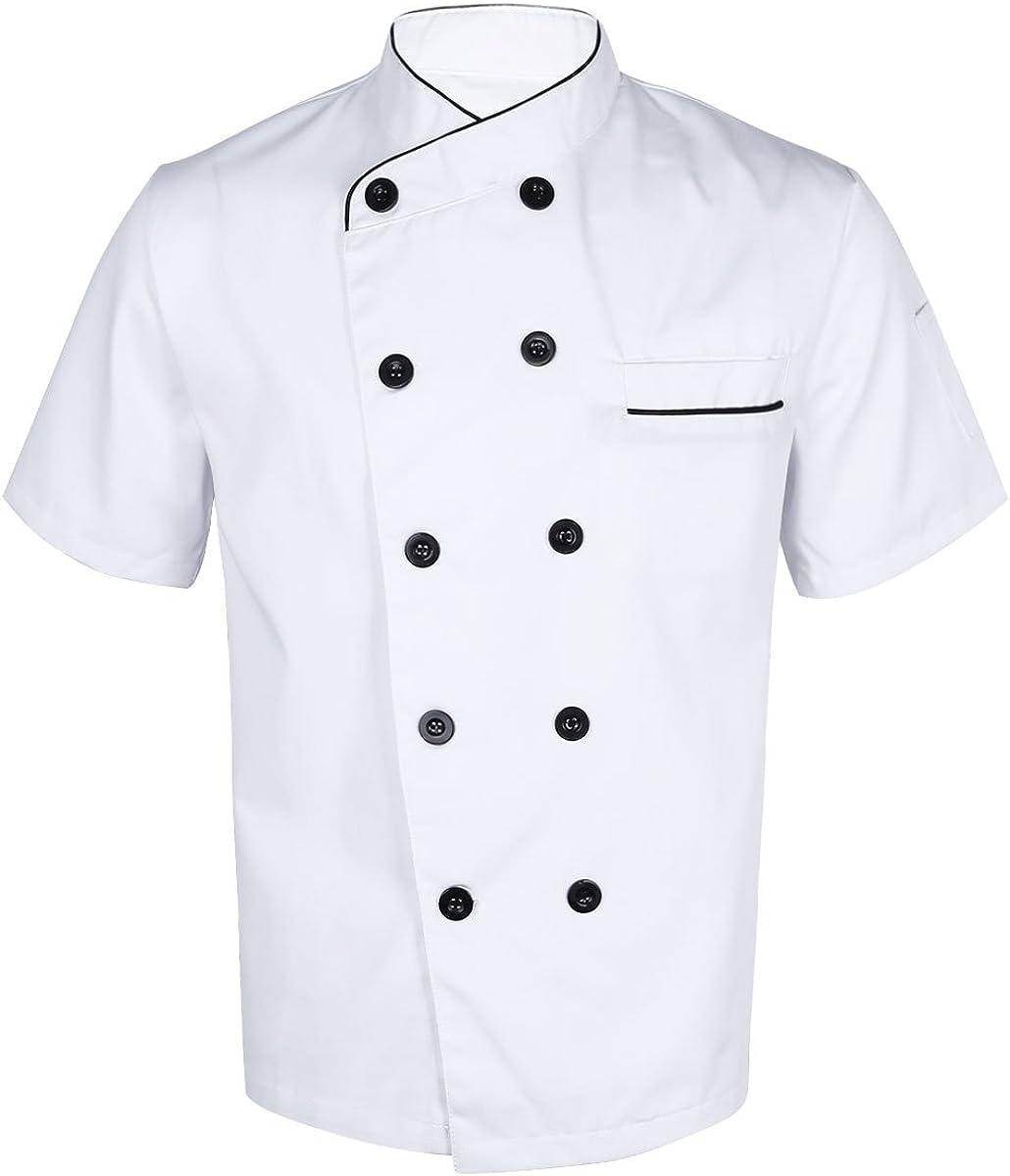 Dooxii Unisex Donna Uomo Mode Estate Manica Corta Giacca da Chef Professionale Ristorante Occidentale Cucina Mensa Hotel Uniformi Divise da Cuoco