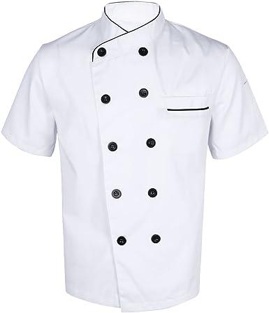 TiaoBug Casaca de Chef Hombre Uniforme Cocina Bar Restaurante Hostelería Disfraz de Cocinero Fiesta Carnaval Chaqueta Camisa de Cocina Adultos: Amazon.es: Ropa y accesorios