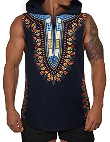 COOFANDY Mens African Print Dashiki Hooded Fashion Sleeveless Tank Top T (Hooded Sleeveless T-shirt)