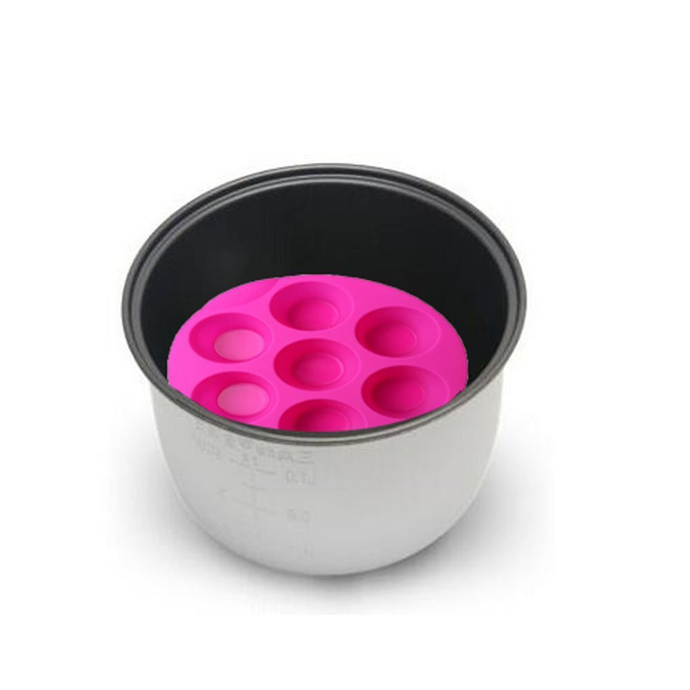 7 Hole Silicone Egg Bites Molds for Instant Pot Accessory for 5,6,8 qt Pressure Cooker, Reusable Storage Container, Best gift for Kitchen, Baking, Kids, Children. (random color Pink or green) by RUN-snail (Image #4)