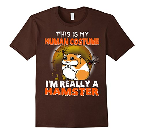 Mens Funny Human Halloween Costume T-Shirt For A Hamster 2XL Brown