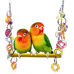 Bird Swing Toys, Parrot Stand Chew Toys with Ball for Birds Cockatoo Parakeet Cockatiel Conure Lovebird Gym Climbing Bird Cage Accessories Acrylic