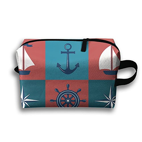 (Travel Buggy Bag Toiletry Pouch Toiletry Bag Anchor Compass Sailboat Printing Zipper Clutch Bag Travel Bag)
