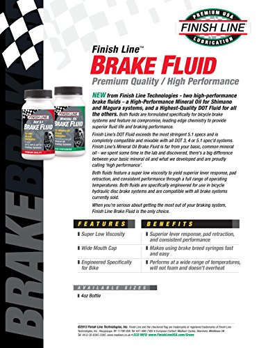 Finish Line High Performance Mineral Oil Brake Fluid, 4 Ounce
