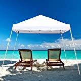 Blissun 10' x 10' Pop-Up Canopy Tent, Instant Slant-Leg Canopy Tent with Carrying Bag (White)