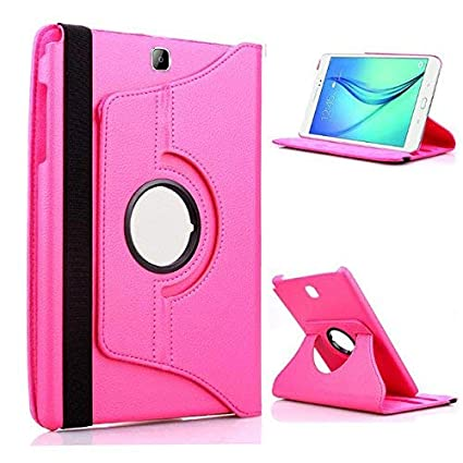 TGK 360 Degree Rotating Leather Smart Rotary Swivel Stand Case Cover for Samsung Galaxy Tab A  9.7 inch  SM T550, T551, T555  Pink