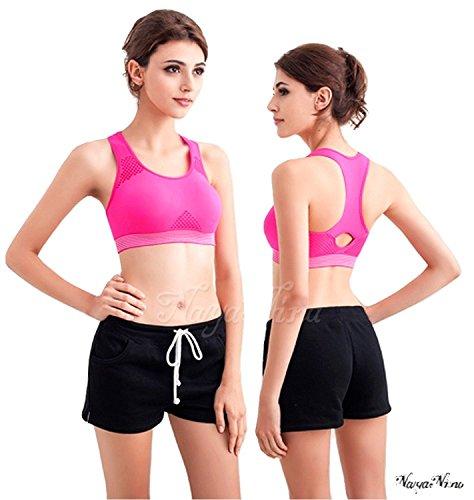 bunny-shop - Sujetador deportivo - para mujer Pink mit weissem Abschluss