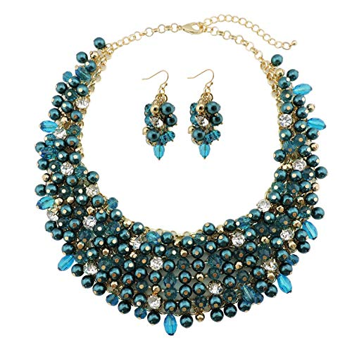 Bocar Fashion Faux Pearl Crystal Chunky Collar Statement Necklace Earring Set for Women Gift - Teal Pearl Set