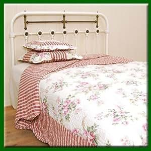 Manta reversible Patchwork Quilt de rayas rosas 260 x 260 cm