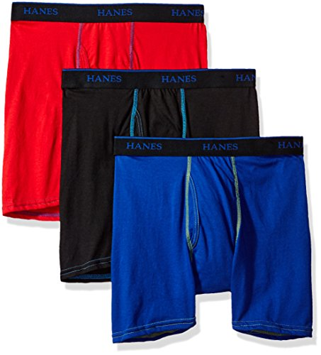 Hanes Big Boys' 3-Pack Ultimate X-Temp Boxer Brief, Assorted, Large