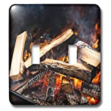 3dRose Alexis Photography - Texture Fire - Burning firewood in an open stove. Yellow and orange fire and smoke - Light Switch Covers - double toggle switch (lsp_287118_2)