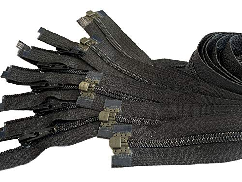 5pcs Ykk Number 3 Nylon Coil Separating Zippers Bulk for Tailor Sewing Crafts Color Black - Made in USA (20 inches)