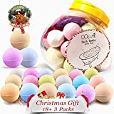 QQcute Bath Bombs Gift Set, 18 Family Spa Vegan Lush Fizzies with Natural Essential Oils,3 Flower Pental Bags, Moisturize Dry Skin, Best Birthday Gifts for Her, Girlfriend, Women, Moms