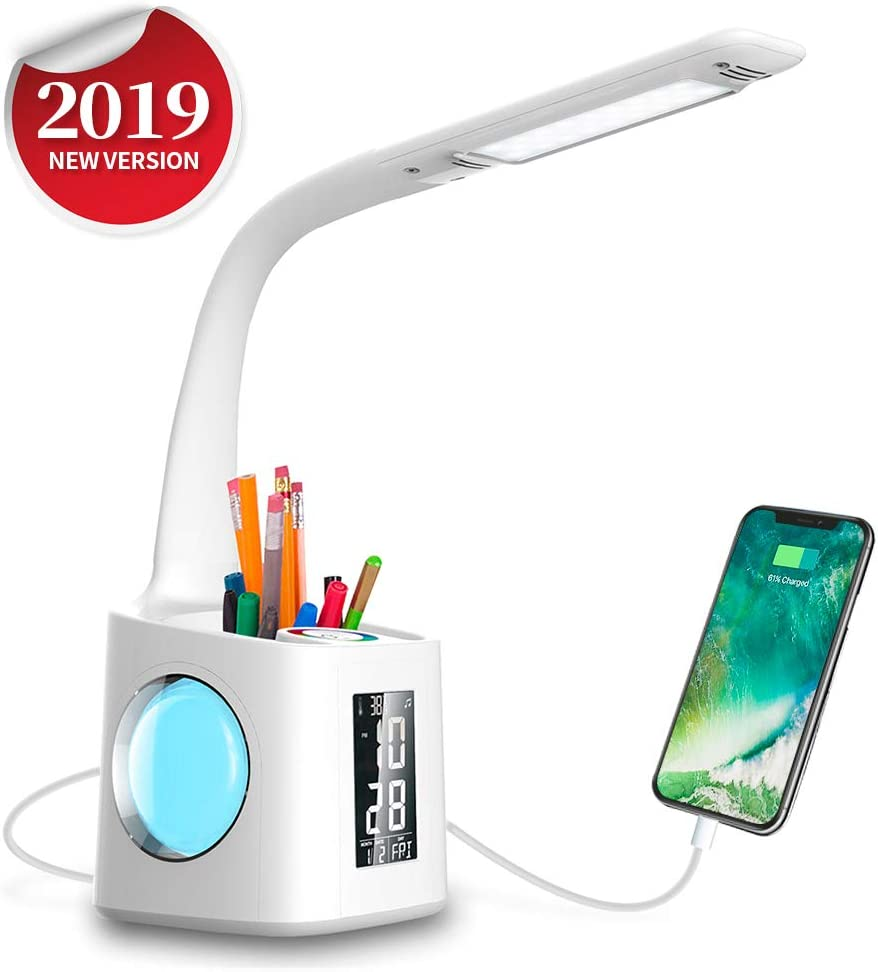 Wanjiaone Study LED Desk Lamp with USB Charging Port Screen Calendar Color Night Light, Kids Dimmable LED Table Lamp with Pen Holder Alarm Clock, Desk Reading Light for Students,10W