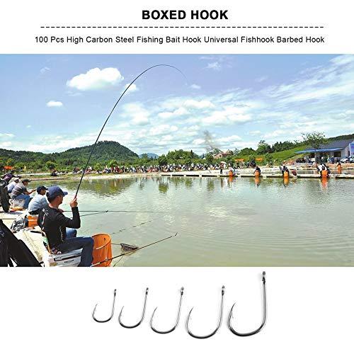 Plata 6 FinukGo 100 Piezas de Acero de Alto Carbono Gancho de Cebo de Pesca Gancho de Anzuelo Duradero de Anzuelo Universal con Caja Accesorios para Aparejos de Pescado