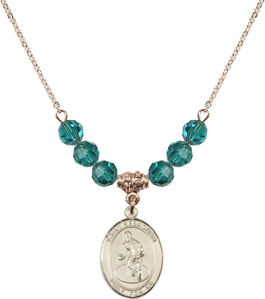 Gold Plated Necklace with 6mm Zircon Birthstone Beads & Saint Sebastian/Wrestling Charm.