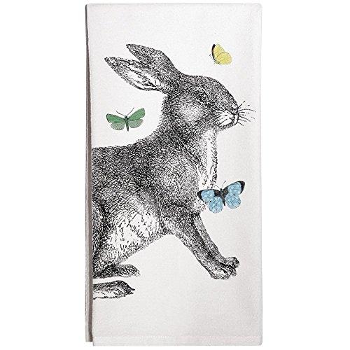 Montgomery Street Rabbit with Butterflies Cotton Flour Sack Dish Towel