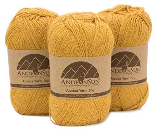 Fingering Alpaca Yarn Blend (Weight #2) FINE, Sport, Baby Skeins - Set of 3 SKEINS - 654 Yards Total - 150 Grams - 5.28 Ounces Total