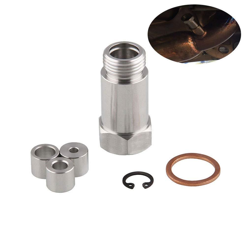 BEESCLOVER Straight Adjustable O2 Spacer Oxygen Sensor Extension M18x1.5 CEL Fix Silver