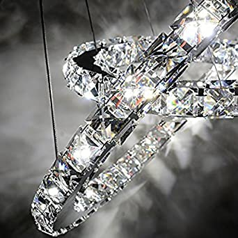 Saint Mossi Modern K9 Crystal Circular Raindrop Chandelier Lighting Flush Mount LED Ceiling Light Fixture Pendant Lamp for Dining Room Bathroom Bedroom Livingroom H39 X D24