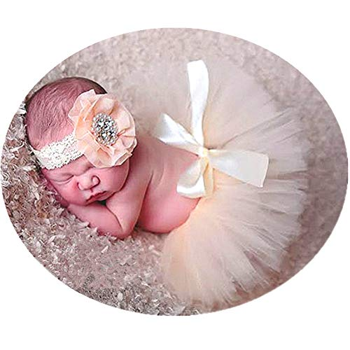 Newborn Girl Photography Outfits - Infant Photography Props/Baby Girl Photo Props - Beige Newborn Tutu Skirt and Headband Set ()