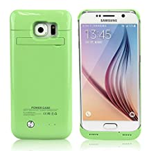 Galaxy S6 Battery Case, SQdeal [U.S. Stock] 4200mAh Rechargeable External Backup Battery Case Power Bank with Kickstand, Portable Charging Case for Samsung Galaxy S6 G920 All Version (Green)