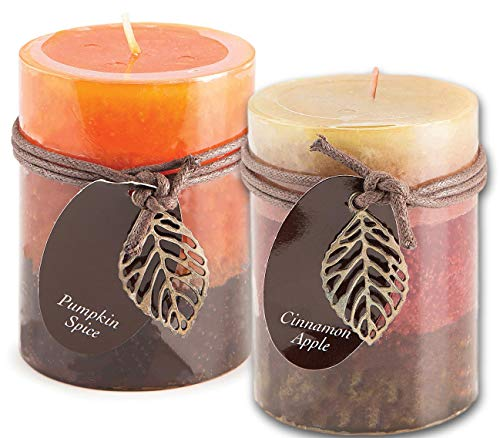 Cinnamon Apple and Pumpkin Spice Scented Candles Set Bundle of 2 Decorative Layered Pillar Candles 3 x 4 Inches ()